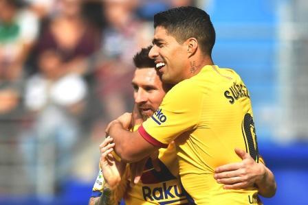 """بعد اكتساح """"إيبار"""" """"البارصا""""تتصدر مؤقتا منافسات المرحلة التاسعة من الدوري الإسباني"""